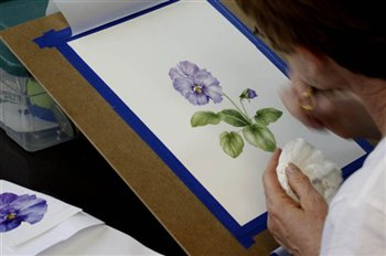 Beautiful pansy in watercolour. Almost done!